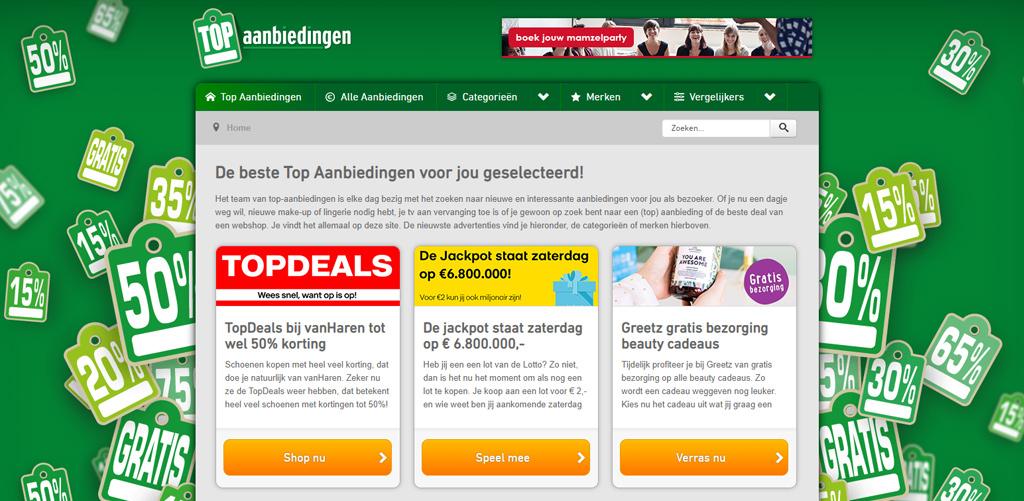 Menustructuur van Top-Aanbiedingen.nl aangepast